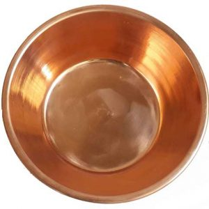 Polished copper foot therapy bowl