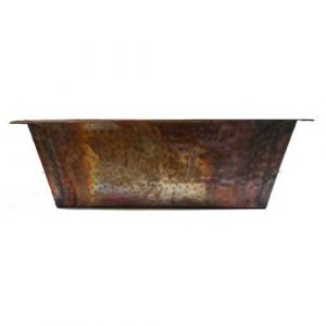 Rectangular Foot Therapy Copper Pedicure Rustic Copper Bowl