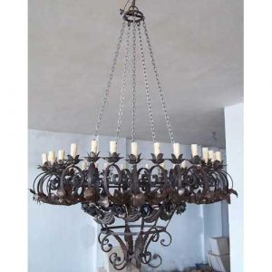 Entrance Wrought Iron Scrolls Chandelier