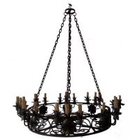 Medallion Wrought Iron Chain Chandelier