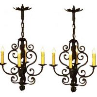French wrought iron ceiling chandeliers