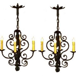 French Wrought Iron Ceiling Chandeliers Pair