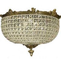 Handmade Flush Mount French Accent Ceiling Crystal Lamp Chandelier