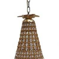French Empire Basket Crystal Gold Eye Beads Pendant Lamp