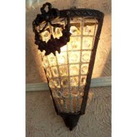 2 Triangle 19 Century European Bronze Crystal Wall Sconces
