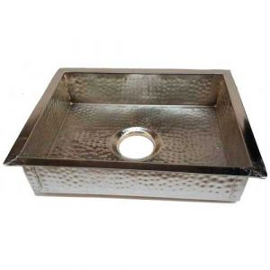 Nickel Plated Rectangular Copper Kitchen Sink
