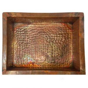 Rectangular Foot Therapy Rustic Copper Pedicure Tub Bowl