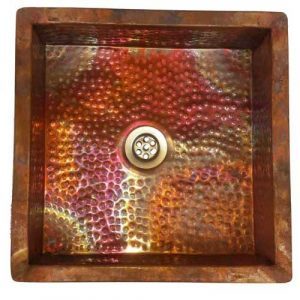 Fire Burnt Copper Square Handmade Toilet bath Room Sink