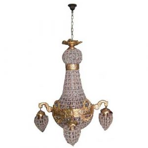 French Empire Ceiling Crystal Shades Chandelier Lamp