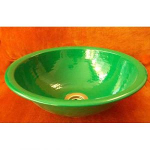 Artistic Over mount Metal Bathroom Green Sink Basin