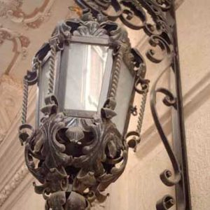 Pair Wrought Iron Wall Brackets + Lanterns