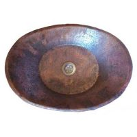 Flame Burnt Counter Oval copper sink