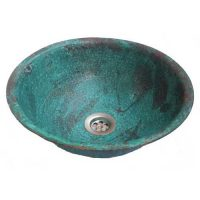 Vintage Turquoise Aged Bathroom Sink Lavatory Copper Bowl