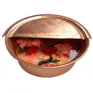 Copper Foot Rest Relief Massage Pedi Tub Polished Bowl