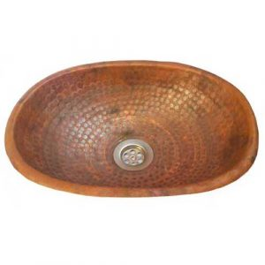 Copper Sink Bowl rolled lip Toilet Lavatory