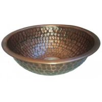 Copper Antique Patina Copper Dome Round Bowl Bathroom Sink