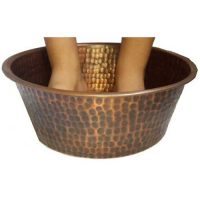 Petite Copper Foot Soak Therapy Massage Spa Basin