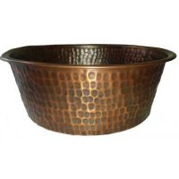 Copper Vessel Antique Patina Round Bowl Bath Sink Lavatory