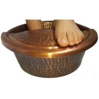 Small Antique Patina Copper Foot Rub Therapy Massage Spa Basin, Footrest