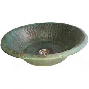 Vintage Vessel Counter Verdigris Pan Panning Bowl Bathroom Sink