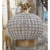 French Empire Stunning Basket Crystal Entry Large Lamp
