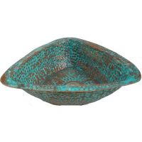 Triangle Verde Patina copper Bath Vessel Counter Mounted Sink
