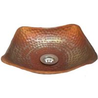 Square Shallow Flame Burnt copper Bath Counter Mount Vessel Sink