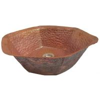 Hexagon Design Original Raw copper Bath Sink Remodel