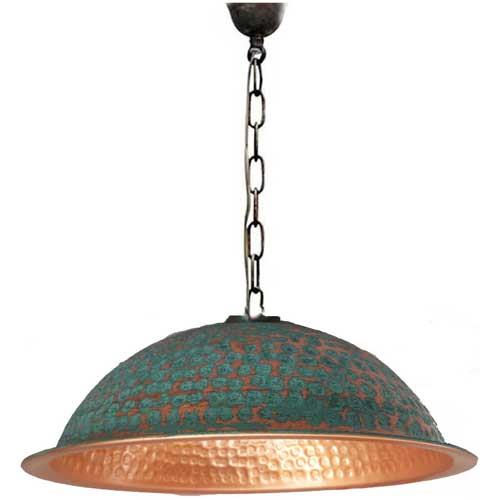 Copper Lamp Shade Ceiling Light Fixture Polished Turquoise Finish