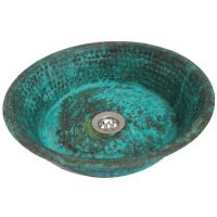 Copper Rustic Aged Green Patina Verde Pan Panning Bathroom Sink