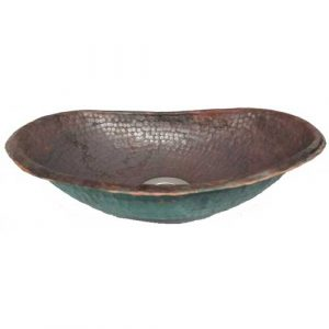 Copper Rustic Dark Oval Bathroom Hammered Sink