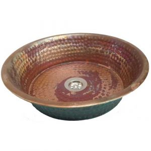 Copper Rustic Verde Fire Burnt Pan Panning Bathroom Lavatory Sink Bowl