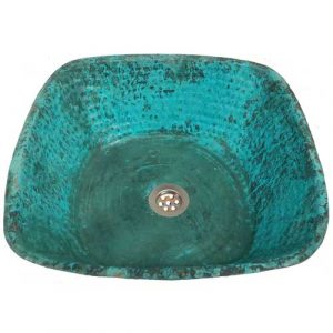 Copper Rusty Verde Square Bathroom Lavatory Vessel Sink Bowl