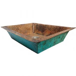 Tarnished Aged Vintage Verdigris Copper Kitchen Sink