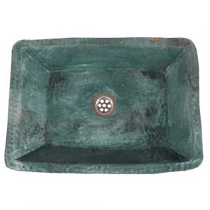Hammered Aged Green Verdigris Copper Kitchen Sink