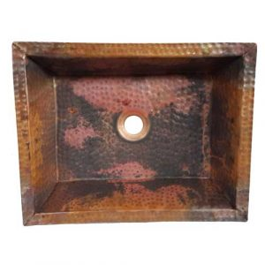 Shallow Natural Hand Hammered Copper Kitchen Sink
