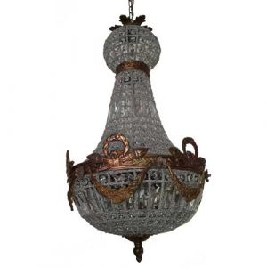 French Empire Aged Basket Crystal Chandelier Lamp Work