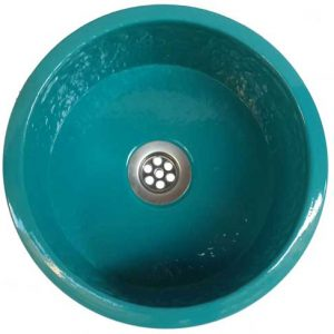 Artistic Over mount Metal Bathroom Turquoise Pan Panning Sink Basin