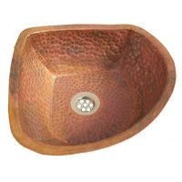 Vintage Corner Raw copper Bathroom Sink Lavatory Bowl
