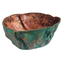 10″ Round Vessel Wrinkled Verdi Rustic copper Bathroom Sink Lavatory Bowl