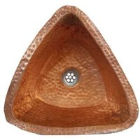 14″ Triangle Vessel Verdi Rustic copper Bathroom Sink Lavatory Bowl