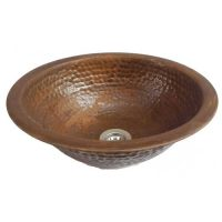 14″ Retro Rustic Round Textured Metal Bathroom Sink Basin