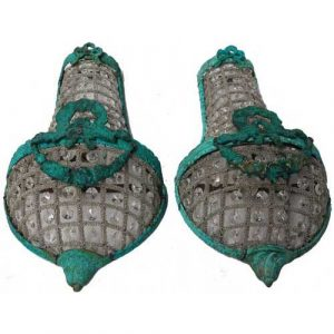 19 Century Verde Antique Replica Pair Basket Crystal Wall Sconces