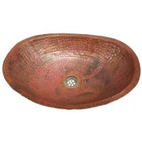 Rustic Hammered Oval Copper Bathroom Sink Lavatory