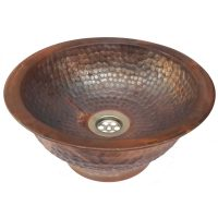 Copper Vessel Bathroom Sink Artistic Tapered Base Washbasin