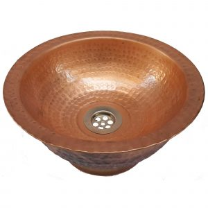 Copper Vessel Bathroom Sink Artistic Tapered Base Polished Basin