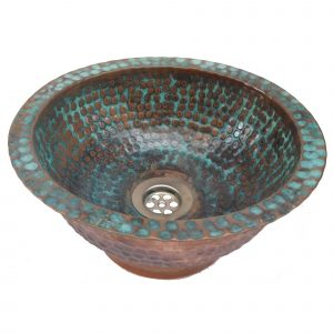 Copper Verdi Vessel Bathroom Sink Artistic Hammered Basin Lavatory