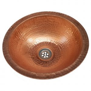 14″ Copper Polished Bathroom Sink Flat Lip Basin Lavatory