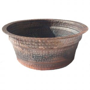 Homemade Small Dry Foot Soak Flame Burnt Copper Pedicure Basin
