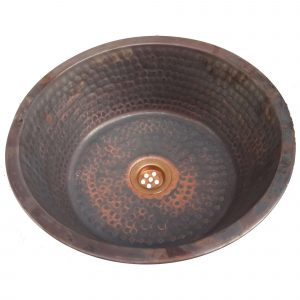 Antimicrobial Pan Panning Above Counter vessel Copper Bathroom Sink